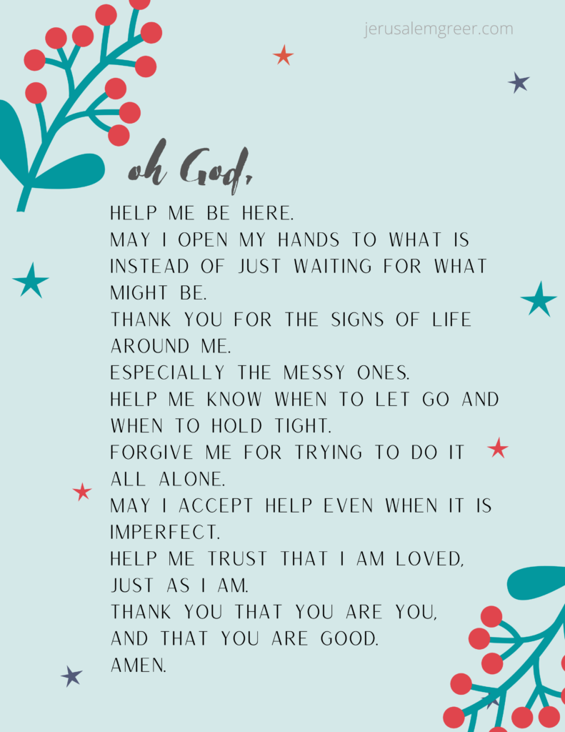 A printable prayer for being present